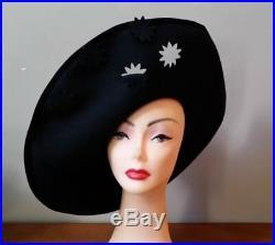1 Day Sale NWT vtg Lord & Taylor black wool felt wide brim Church hat cut-outs