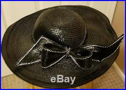 1 Day Sale Was $325 Vtg Jack McConnell red feather black wide brim hat rhineston