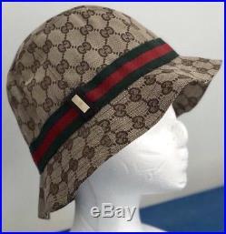 44d05df8a21c1 100% AUTHENTIC Vintage 2000 GUCCI WOMAN FEDORA CANVAS BEIGE GG CAP HAT