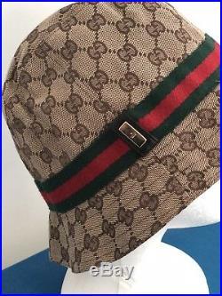 e0d842dec91 100% AUTHENTIC Vintage 2000 GUCCI WOMAN FEDORA CANVAS BEIGE GG CAP HAT