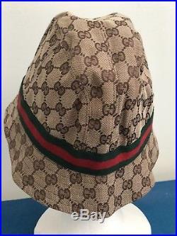 100% AUTHENTIC Vintage 2000 GUCCI WOMAN FEDORA CANVAS BEIGE GG CAP/HAT