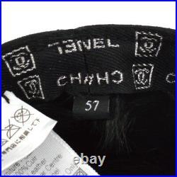 100% Authentic CHANEL Vintage CC Logos Hat Black 100% Lambskin #57 Y03034k