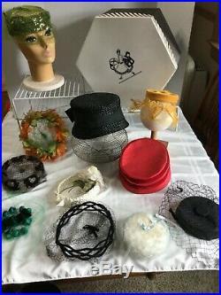 11 Vintage Ladies Hat Lot! Netting Flowers Caplets Pill Box Flapper