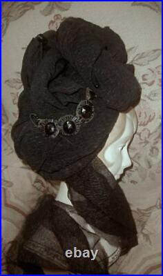 1880s Antique Victorian Mourning Turban Hat Silk Crepe w Scarf, Jet, Bustle Era VG