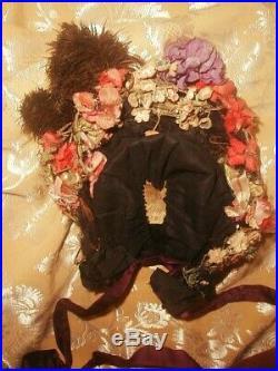 1880s Mme Virot Paris Victorian Bonnet Flowers Plume Hat Chapeau French Bustle