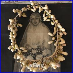 1890's French Wedding Bridal Wax Headpiece Tiara Display