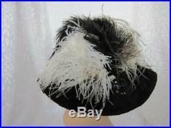 1900 -1910 Edwardian True Antique Ladies Hat Plush Fur Beaverette Ostrich Plume