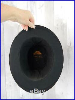 1900s Antique TOP HAT Black Vintage Silk Collapsible Opera Edwardian Size 6 7/8