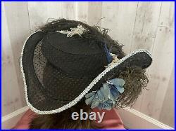 1900s Edwardian HAT Wide Brim VELVET OSTRICH FEATHER PLUME Gibson Girl 20 Rare