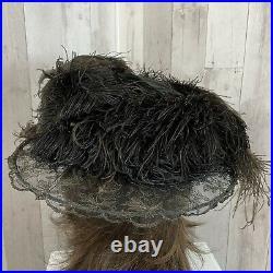 1900s Edwardian HAT Wide Brim VELVET OSTRICH FEATHER PLUME Gibson Girl 21.5 Rare