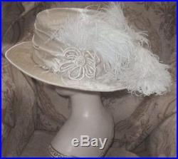 1910 Edwardian PARIS Hat CAMILLE ROGER Cream Silk Plush w Ostrich Plumes & Jewel