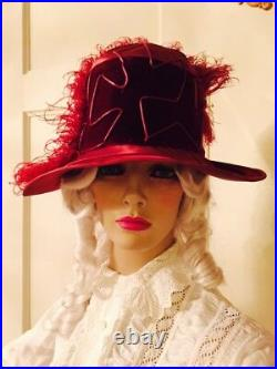 1910 Red Silk Antique Ladies Hat Nearly Perfect! Cloche Teens Velvet Ostrich