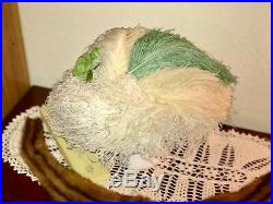 1910s Edwardian Hat Merry Widow Titanic Era Green Vintage Millinery Feathers