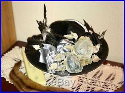 1910s Edwardian Hat Titanic Era Wide Brim Millinery Flowers Bird Taxidermy