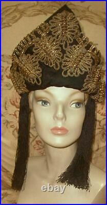 1910s French Antique Theatre Headdress Crown Gold Boullion, Beads Ballet Russes