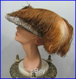 1912 Edwardian Gibson Girl VELVET & OSTRICH FEATHER GAINSBOROUGH WIDE-BRIM HAT