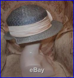1912 Edwardian Sea Blue Beach Hat Straw Wide Brim w Cream Cockade & Sash XL 24