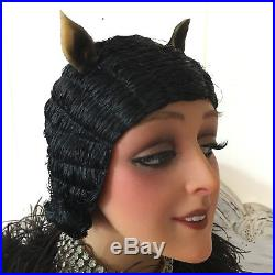 1920'S Art Deco Paris Original Flapper Evening Wig Cloche Hair Boudoir Black
