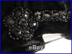 1920's Deco Era Flapper Cloche velvet Hat Black Glass beaded flower Feathers