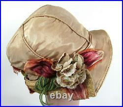 1920s-30s Tan Satin Cloche w Straw Brim flowers & ribbon trim