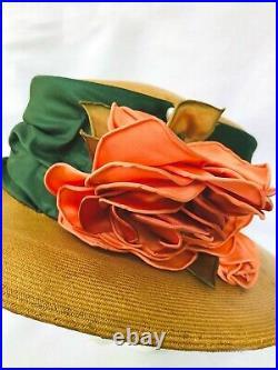 1920s Antique fine straw green satin + apricot flower summer hat wonderful
