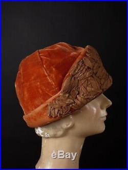 1920s Burnt Orange Velvet & Silk Helmet Cloche