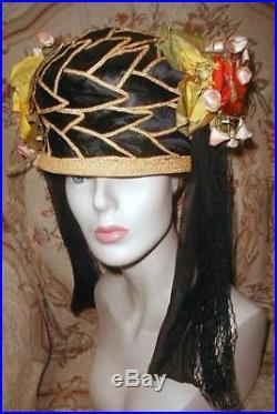 1920s Egyptian Oriental Inspired Cloche Hat w Leaves, Tassels, Flowers Kokoshnik