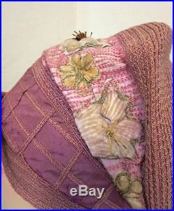 1920s Flapper Cloche Hat Helene Label Mauve Pink Trellis & Appliqued Flowers