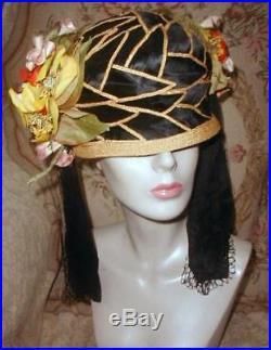 1920s Flapper Cloche Hat w Silk & Straw Leaves, Tassels, Flowers Oriental Sz Large