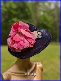 1920s Purple Silk Velvet Hat W Large Silk Flower Trims