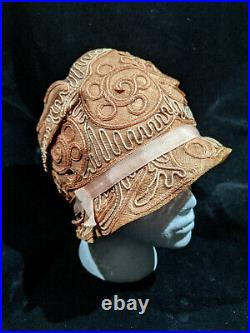 1920s Vintage Paige Straw Cloche Hat with Rose Gold & Silver Toned Braid