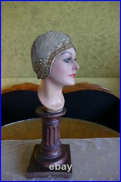 1924 Gold Lamé & Rhinestones Flapper Cloche, antique hat, antiker Hut