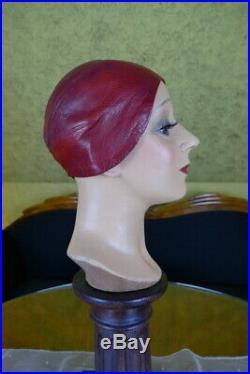 1925 CALLOT SOEURS Leather Cloche, antique hat, flapper hat, antique cloche