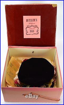 1930 Hutzler's Womens Hat Black Velvet Bucket Floral Flowers Vintage Antique