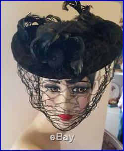 1930's 1940's Vintage Black Wool Tilt Hat Excellent Condition
