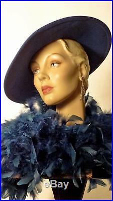 1930s 1940s Style Platter Hat Blue Wool Wide Brim Adolfo II NY Paris Sz 7 #1245