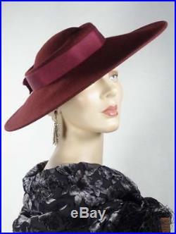 1930s 1940s Style Platter Hat Burgundy Wool Wide Brim Sonni Sz 7 #1244