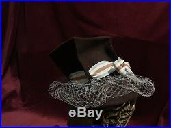 1930s 40s Tilt Top Hat brown baby blue Vintage excellent Condition Veil