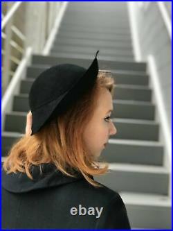 1930s Black Asymmetrical Felt Hat