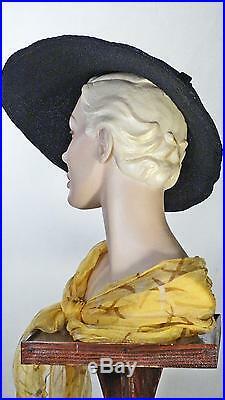1930s Hat Wide Brim Black Cartwheel Pancake Old Hollywood Glamor Sz 7