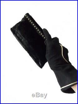 1940's style black clutch studs purse and sculptural felt tilt hat WWII swing