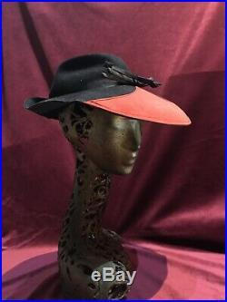 1940s 40s Fedora Tilt Hat Black Felt Red Suede Vintage Wide Brim