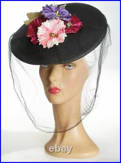1940s Absolutely Stunning Vibrant Floral Hat with Face Veil & Snood Feature