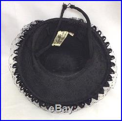 1940s Amazing Black Woven Hat with Dotty Veil & Double Loop Brim & Pink Florals