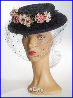 1940s Beautiful Woven Straw Hat with Face Veil & Ruffled Brim & Pink Florals
