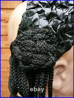 1940s Black RACELLO Straw Oringinal VINTAGE Brimless Cocktail Hat, Draped Cord
