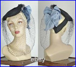 1940s Black Tilt Mini Beret With Blue Bows and Long Silk Veil One Size #1440