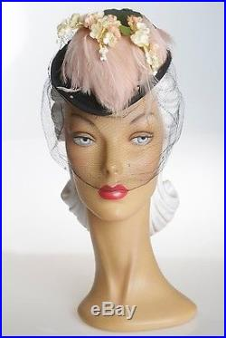 1940s Darling Black Felt Hat with Dotty Face Veil & Feathers & Florals