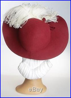 1940s Dramatic Rich Burgundy Felt Hat with OTT Creamy Feathers Plume and Bow