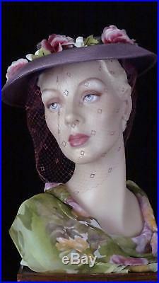 1940s Elegant Purple Platter Hat with Magenta Veil by Ethel Atlkins Boston #1425
